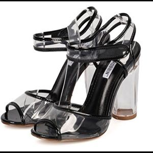 Black peep toe Clear straps lucite heel Heels